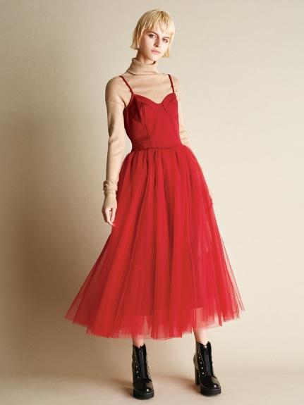 優雅細肩連身紗裙