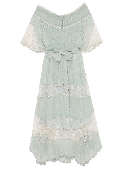 蕾絲拼接一字領長版洋裝