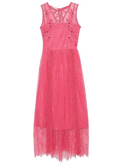 蕾絲刺繡長版連身裙