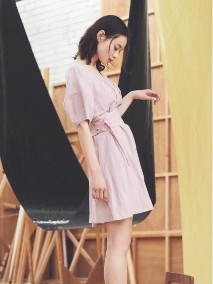 甜美蓬袖腰封設計感洋裝