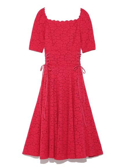 蕾絲縮腰剪裁洋裝