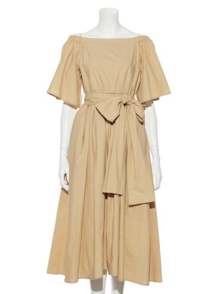 純色綁帶剪裁洋裝