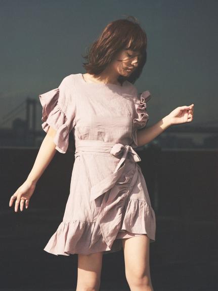亞麻荷葉袖設計感連身裙