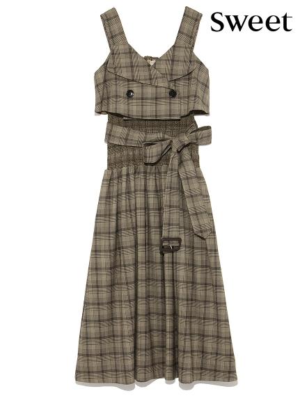 風衣式縮腰連身裙
