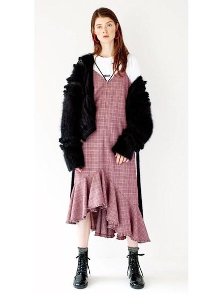 荷葉層次裙襬吊帶洋裝