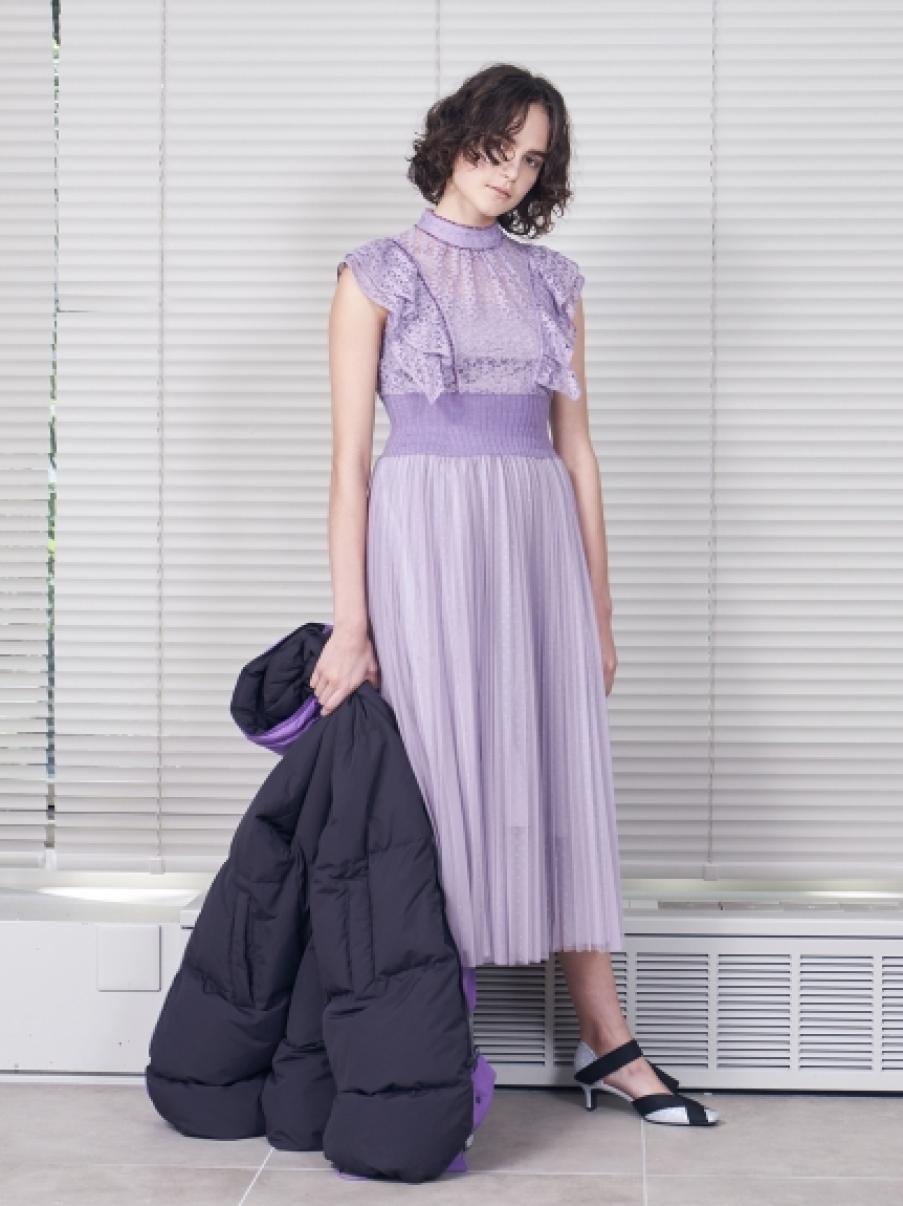 蕾絲上衣X紗裙拼接洋裝