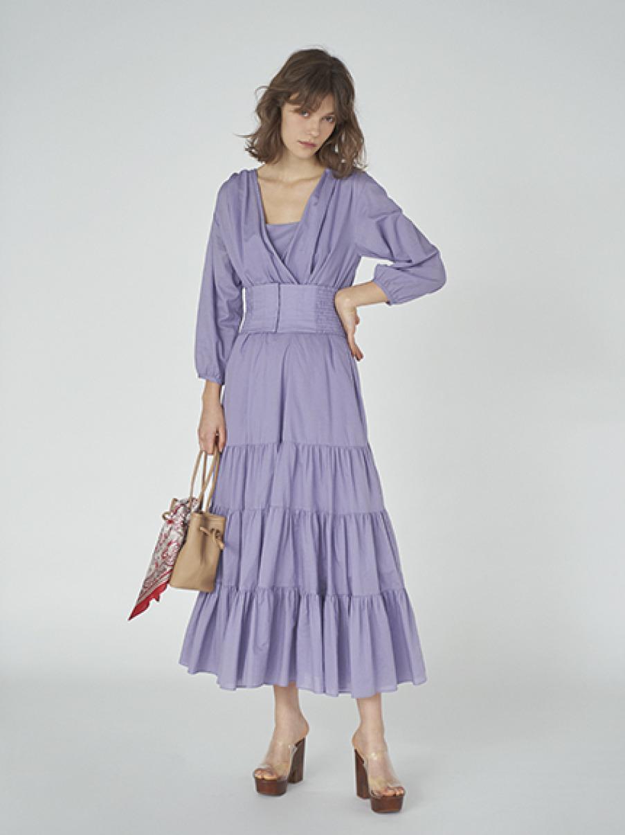 寬腰帶長版洋裝