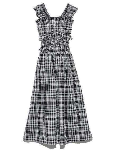 格紋彈性背心洋裝