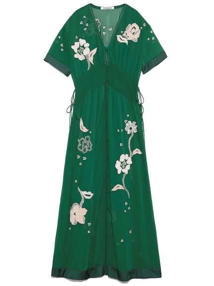 花朵刺繡排釦罩衫洋裝