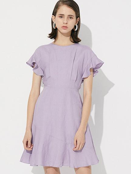 荷葉邊袖亞麻洋裝