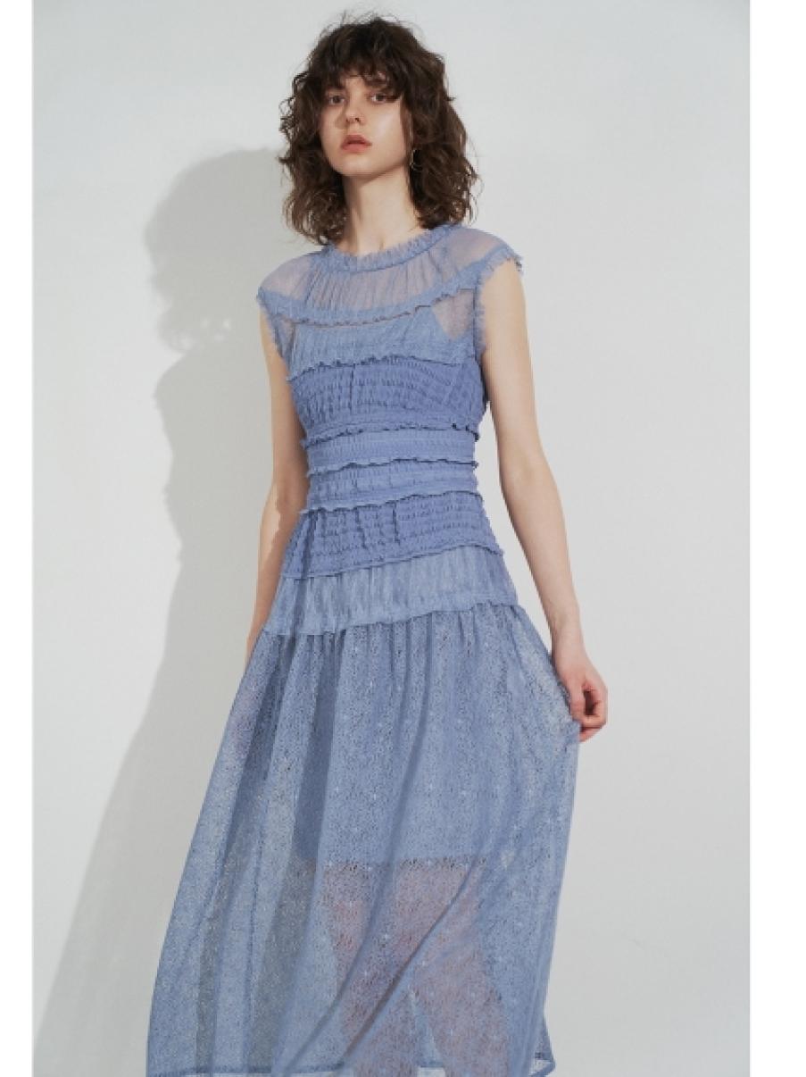 異素材拼接百褶洋裝