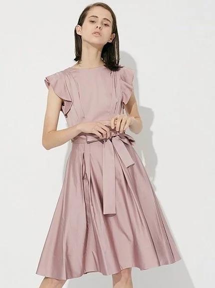 緞面荷葉連身裙