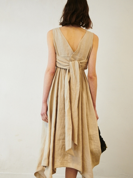 後背綁帶麻質洋裝