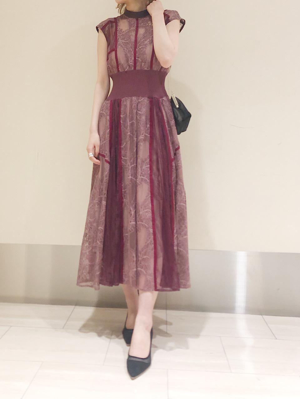 拼接背綁帶蕾絲洋裝
