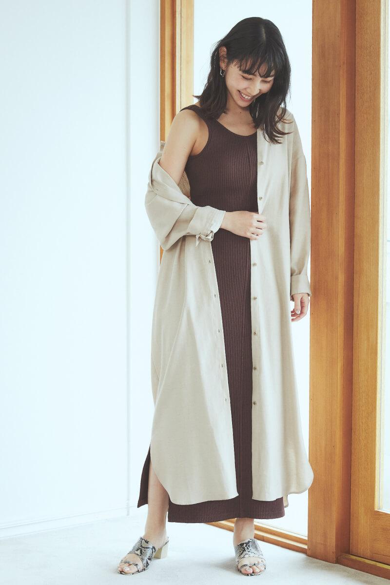 嫘縈亞麻襯衫洋裝