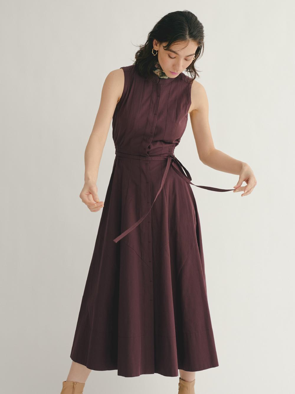 棉麻無袖立領連身裙