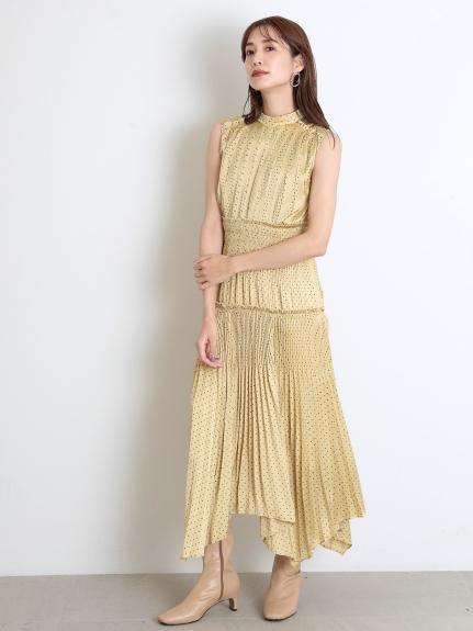 百褶無袖點點連身裙
