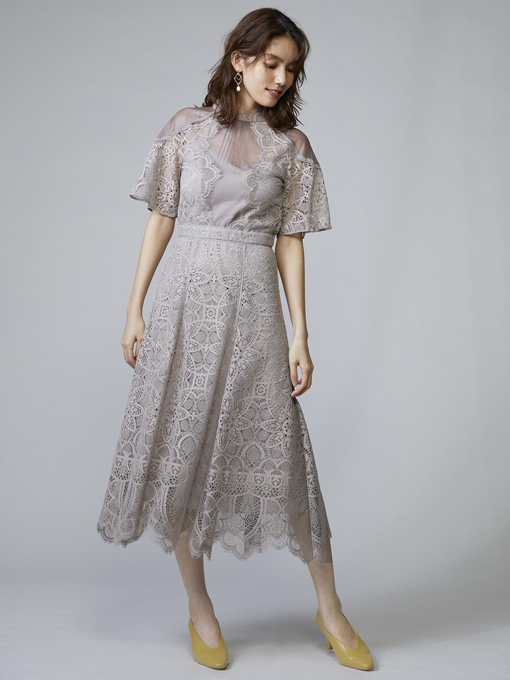 拼接蕾絲正式感連身裙