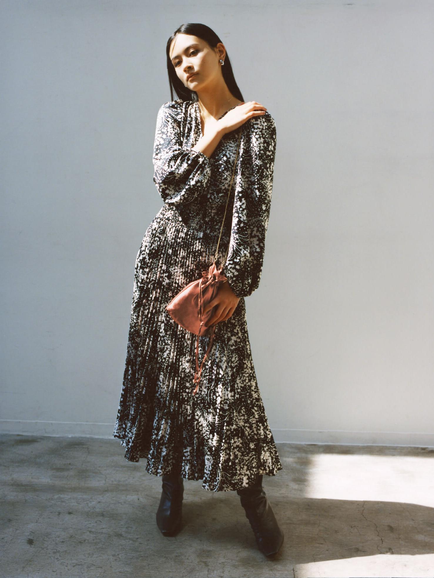 2way緞面緹花連身裙