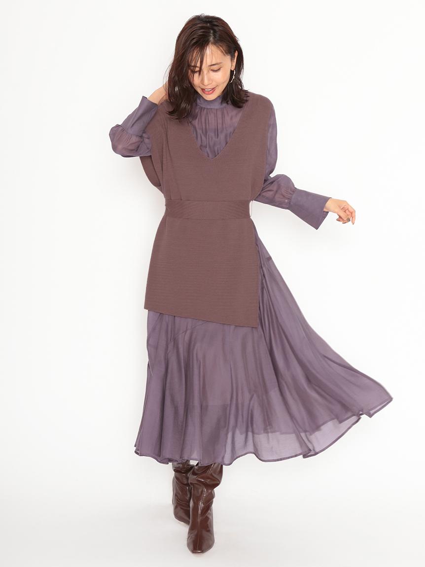 針織背心雪紡連身裙