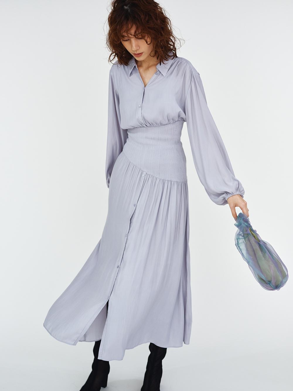 腰部羅紋襯衫連身裙