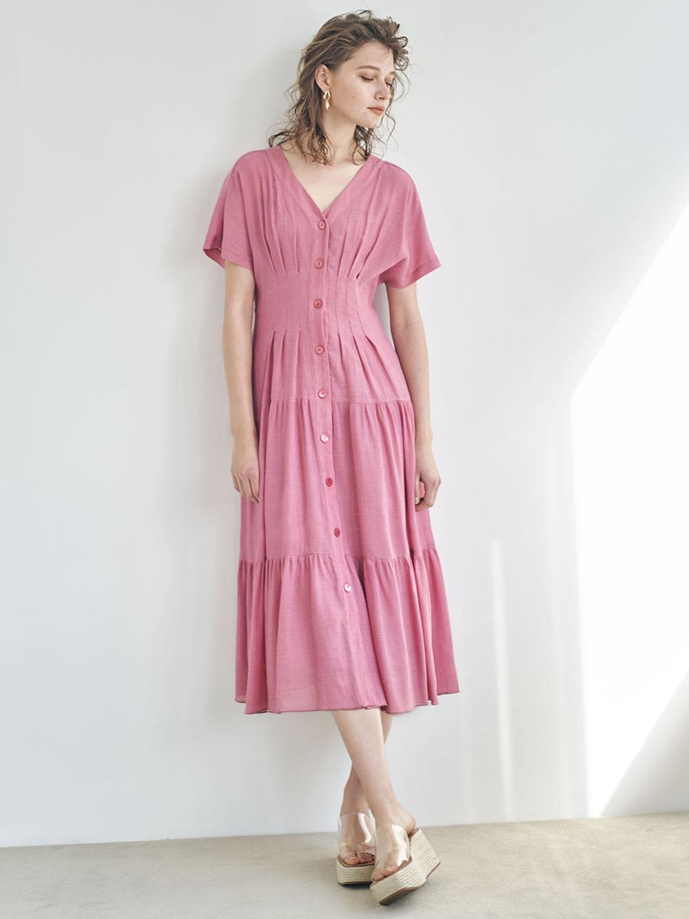 單色鈕釦楊柳紗連身裙