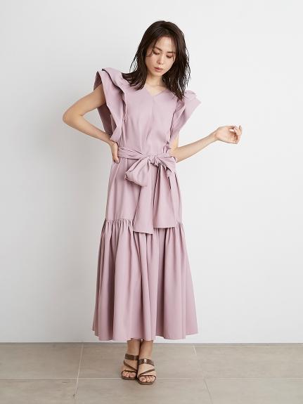 Sustainable塔夫綢造型袖長版連身裙
