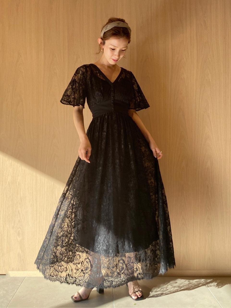 拼接設計蕾絲連身裙