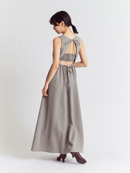 背後鏤空傘襬連身裙