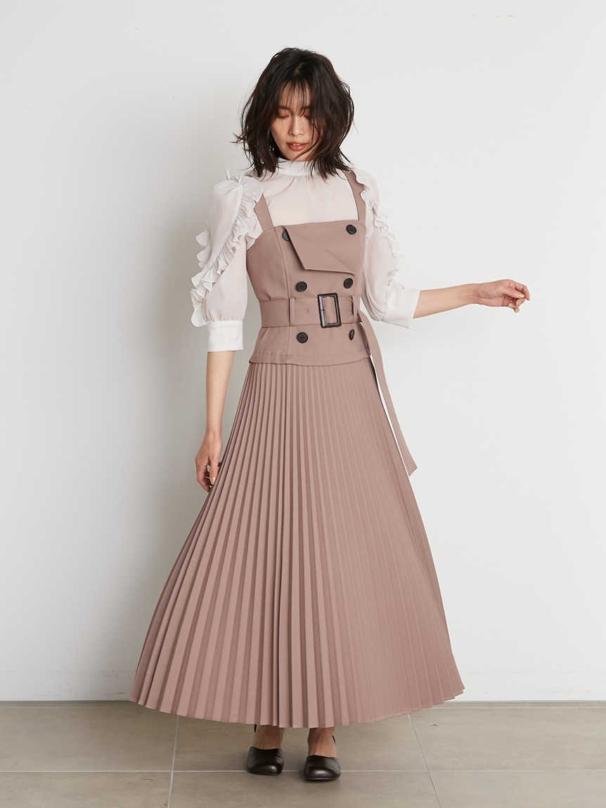 風衣式吊帶連身裙