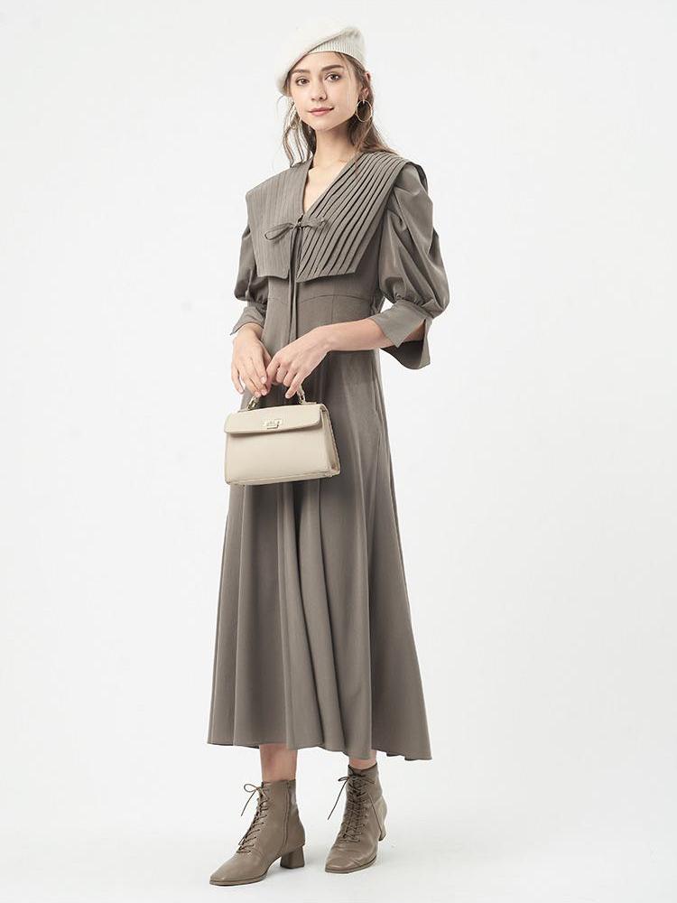 造型大領典雅連身裙