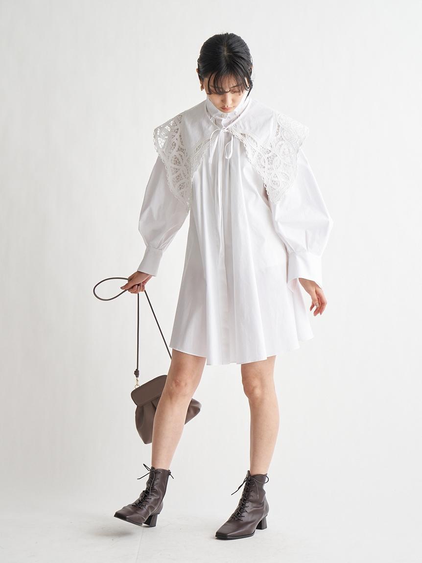 ORGANICS刺繡大領片短版連身裙