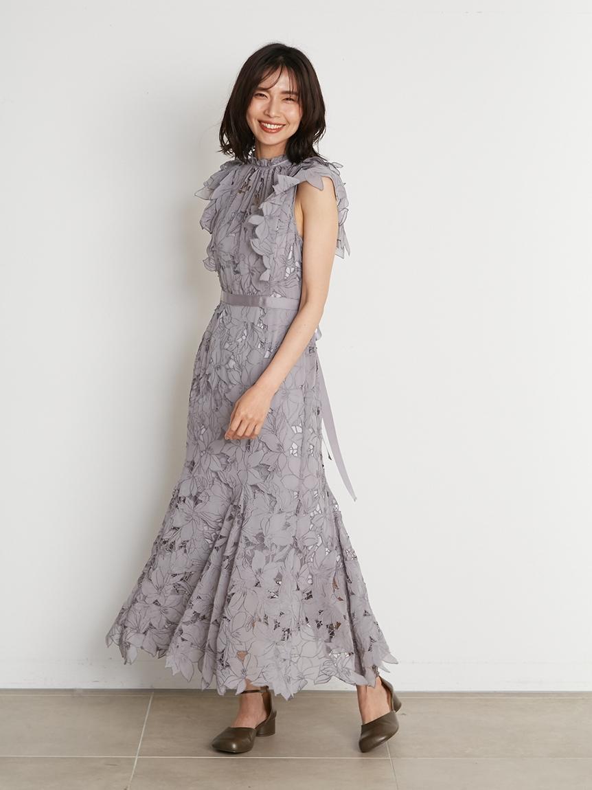 Sustainable雕花蕾絲連身裙