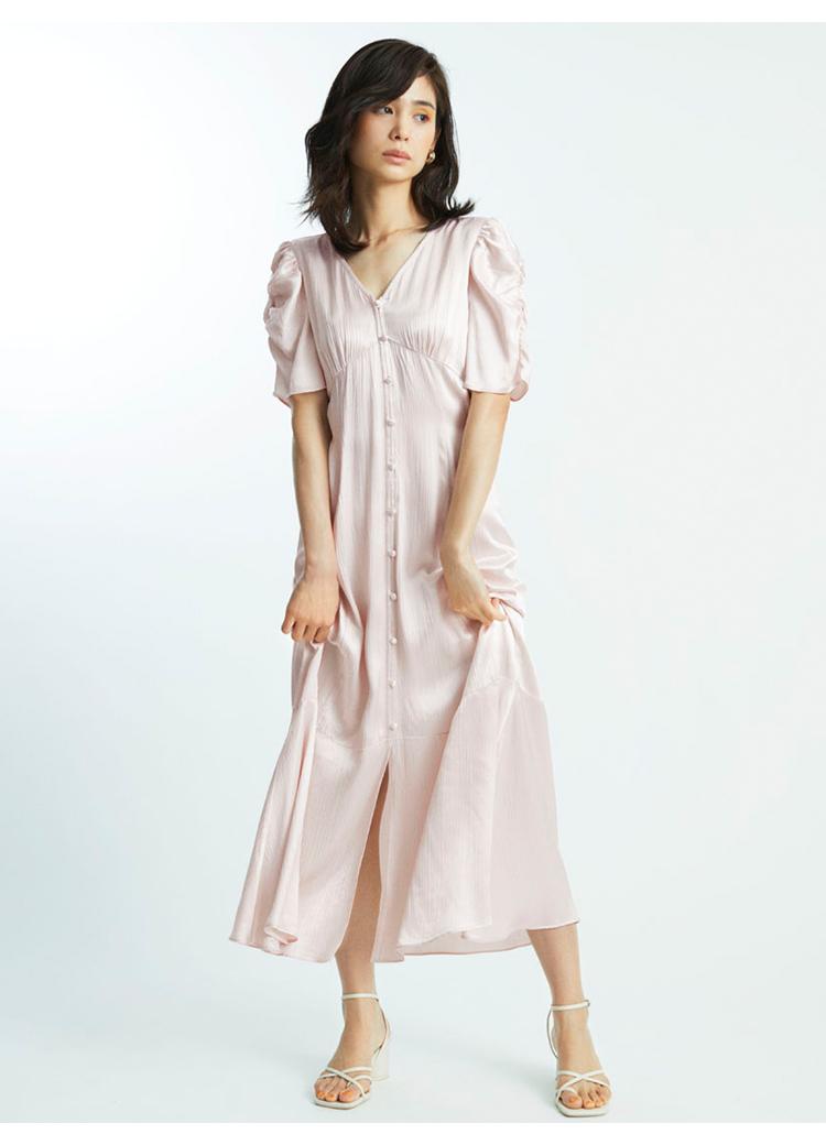 抽皺袖V領連身裙