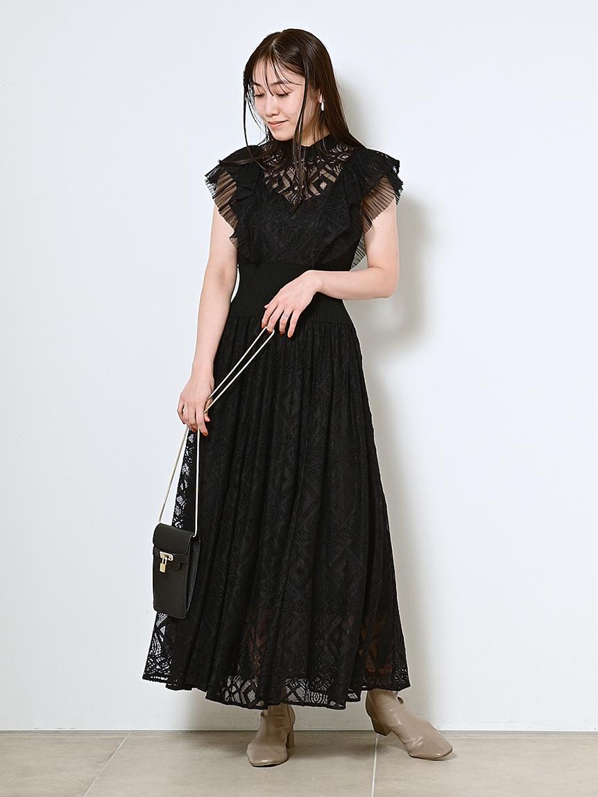 羅紋縮腰蕾絲連身裙