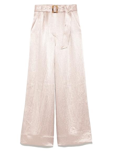 光澤感緞面寬褲