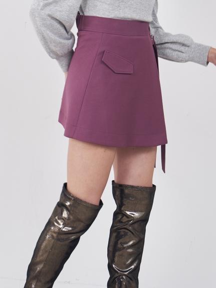 雙繫帶打褶短裙