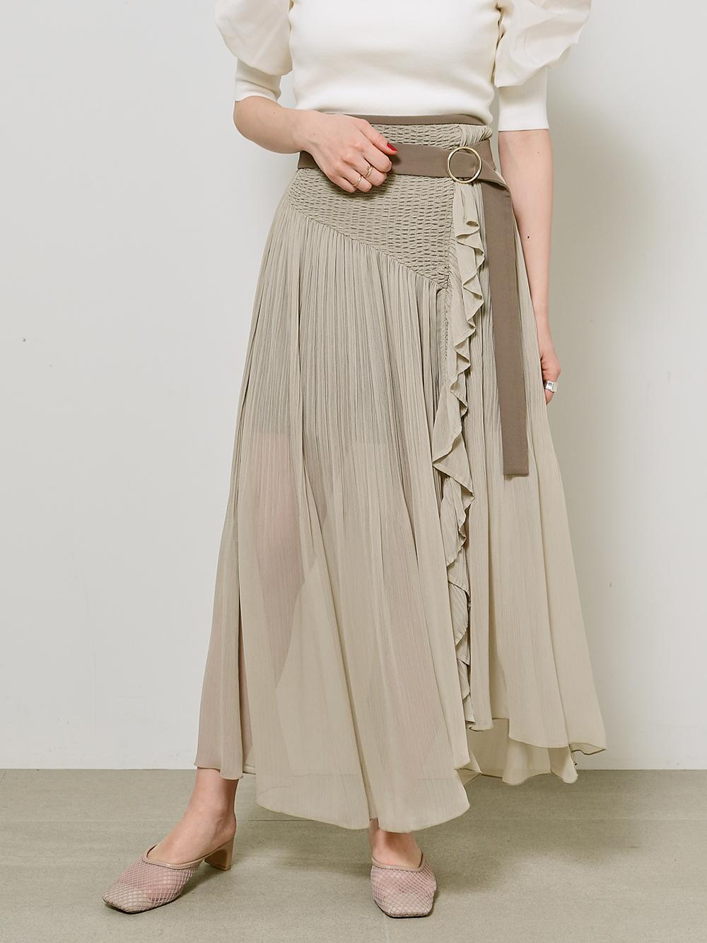 細褶荷葉邊褲裙