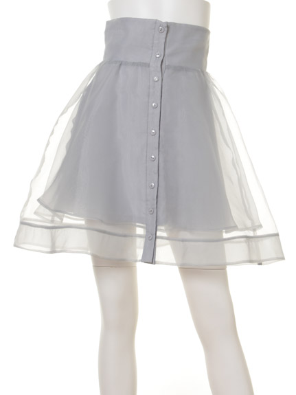 高腰單排扣紗裙