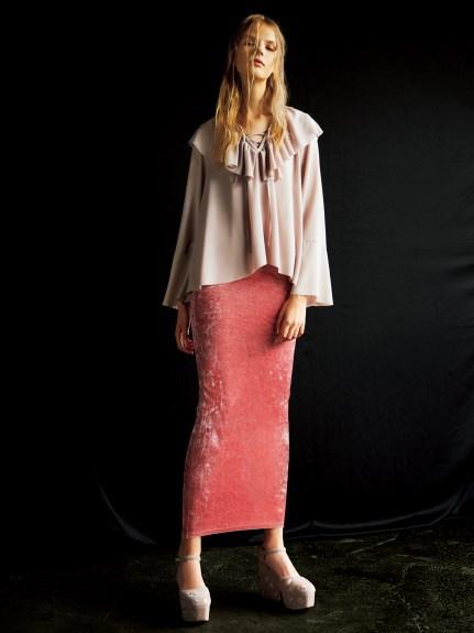絨布長窄裙