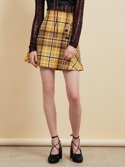 高腰鈕扣羊毛短裙