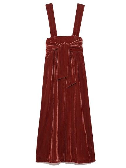 天鵝絨剪裁吊帶長裙