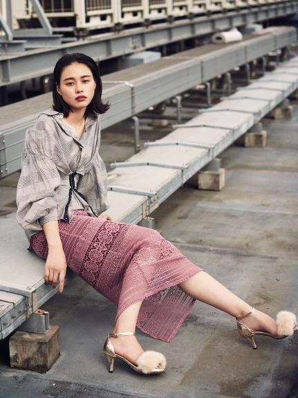 蕾絲花紋窄版長裙