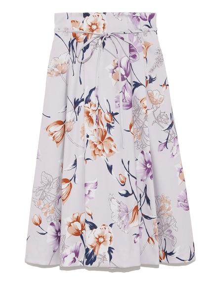 優雅手繪風花卉中長裙