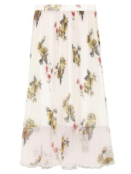優雅花卉百摺裙