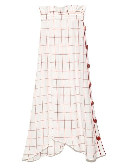側圓釦格紋長裙