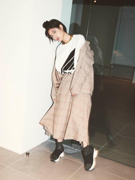 羊毛百褶長裙