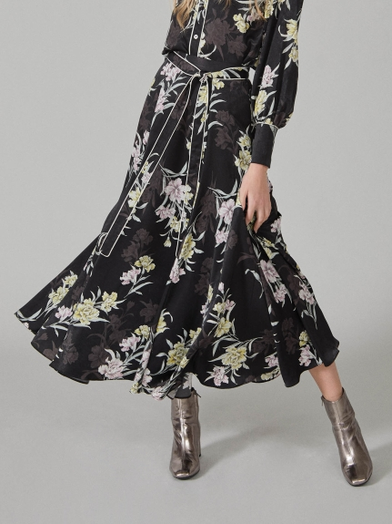 花柄印花中長裙