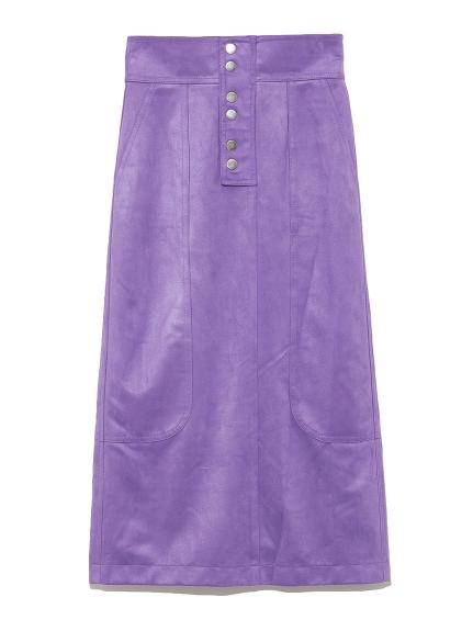 絨面革窄身中長裙