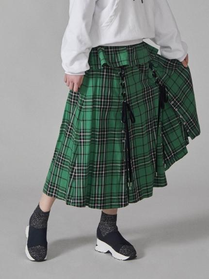 格紋開衩中長裙